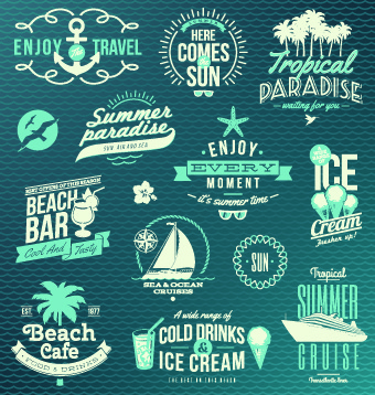 vintage summer vacation travel logos vector