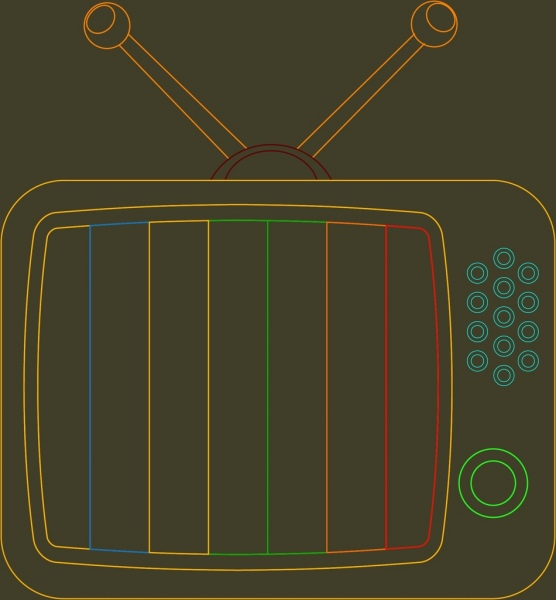 vintage television icon closeup colored flat sketch