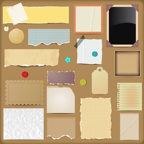 Torn paper clipart vintage. Elements vector free in