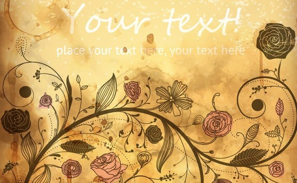 flowers background colored retro swirling decoration