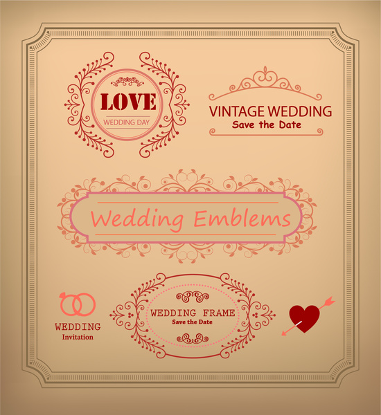 Vintage wedding card decoration frames illustration free vector in vintage wedding card decoration frames illustration junglespirit Images