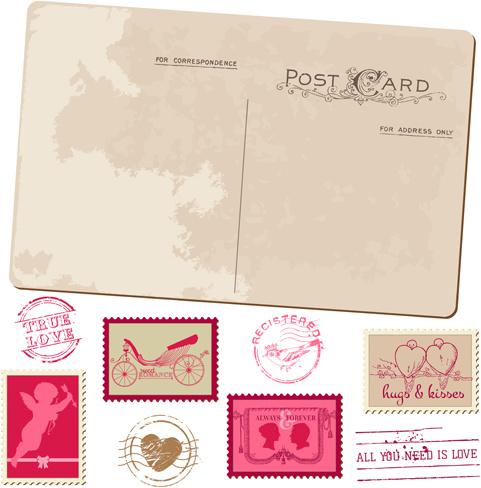 Vintage Wedding Postcard With Postage Stamps Vector