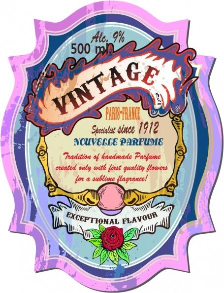 vintage label template colorful grungy rose frame sketch