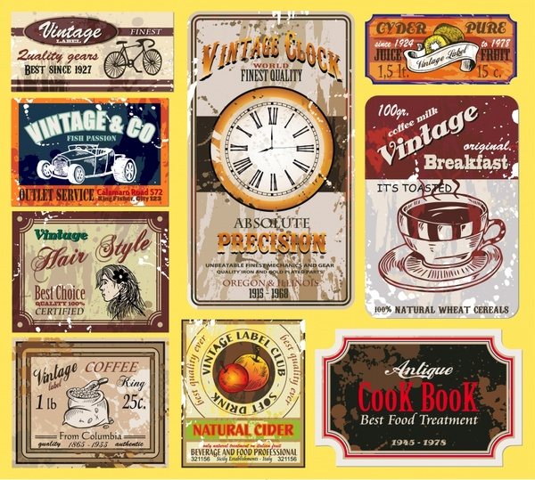 vintage labels templates colorful old grunge decor