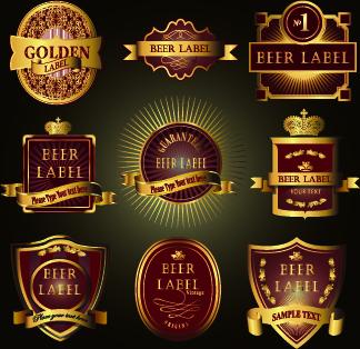 vintage wine labels design vector