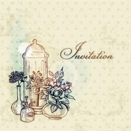 vintage with retro flower hand drawning vector background