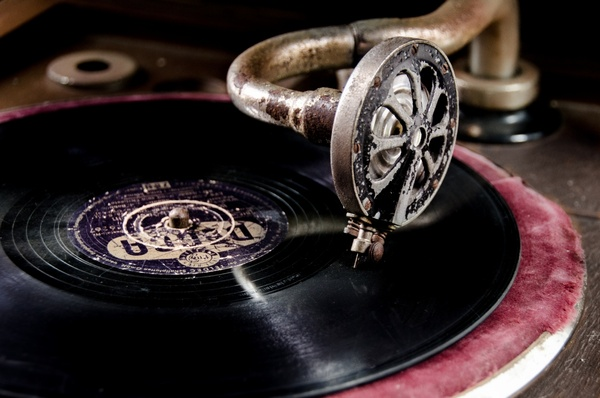 vinyl on vintage record player