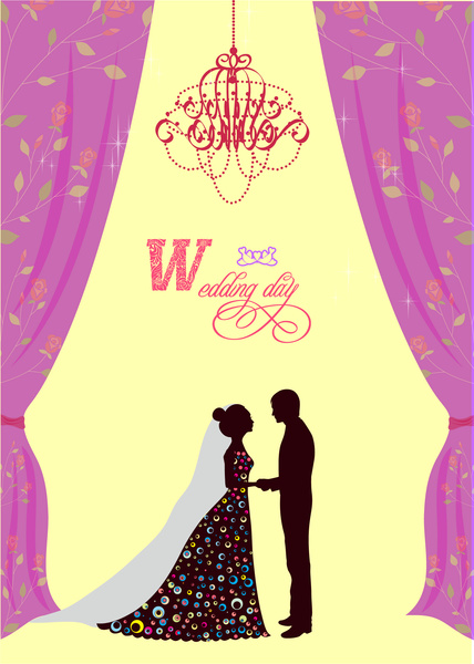 violet curtain decoration wedding card free vector in adobe