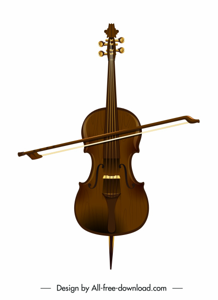 Violin music instruments brown classical sketch Free vector