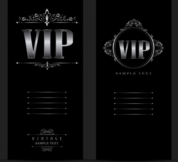 vip card template dark silver decor vintage style