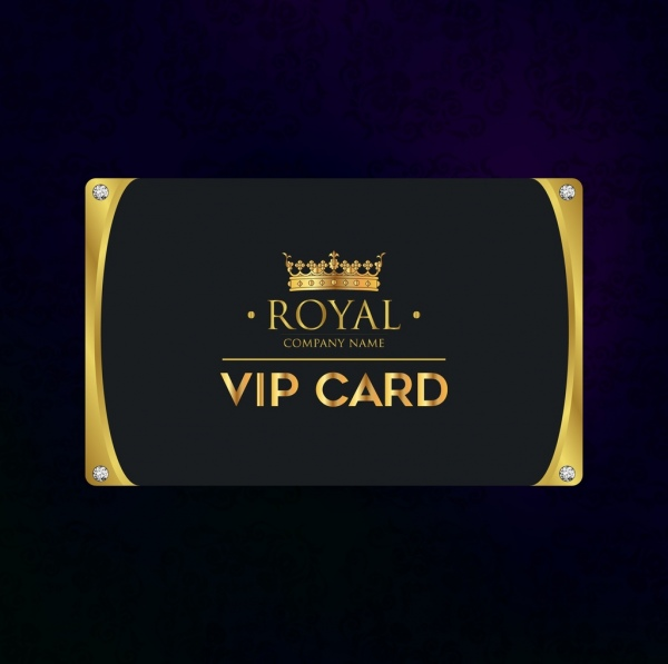 vip card template luxury golden crown icons decoration