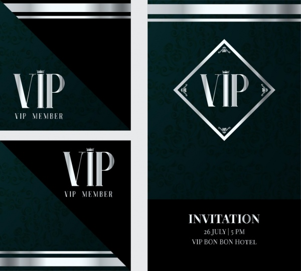 vip invitation card template classical dark decor