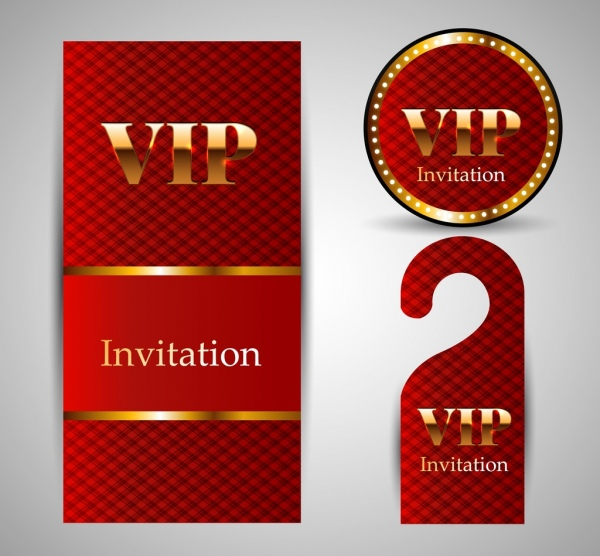 Vip Invitation Card Template Sets Shiny Golden Red Free Vector In