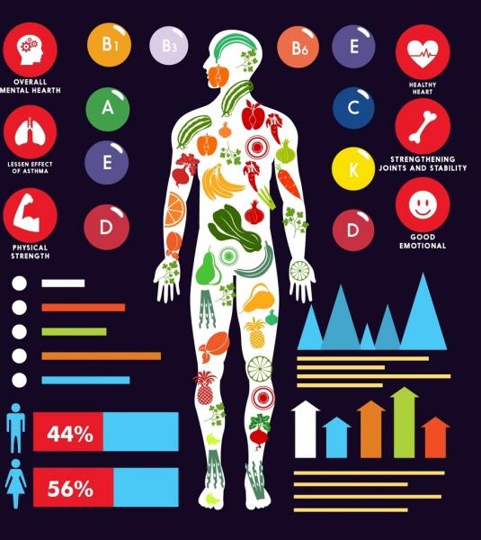 vitamin benefits infographic human body icon charts decor