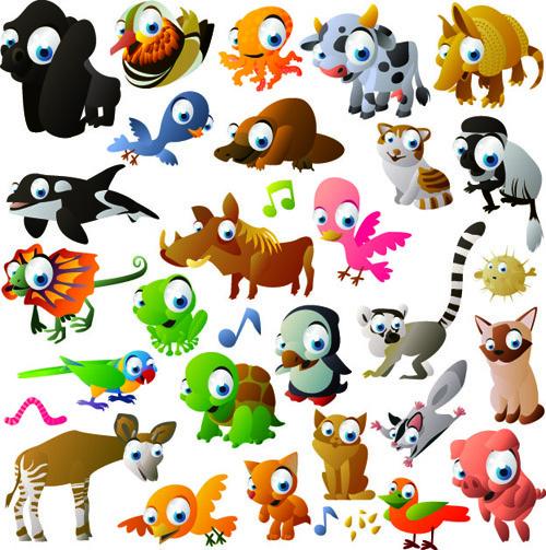 vivid cartoon animals vector