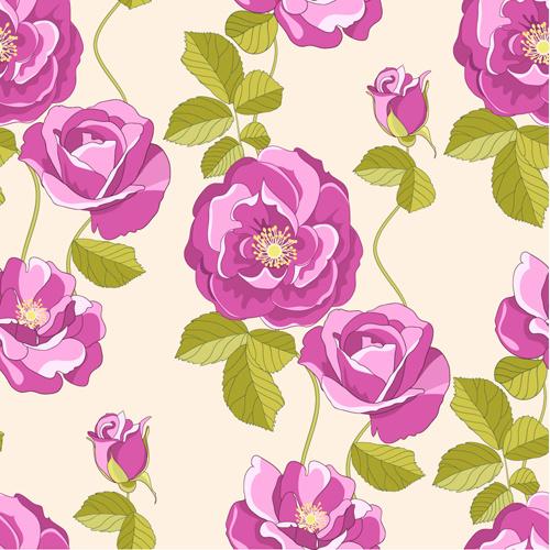 vivid flower patterns design elements vector