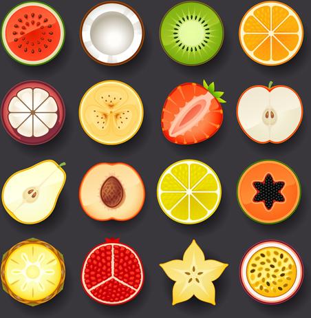 vivid food icons vector