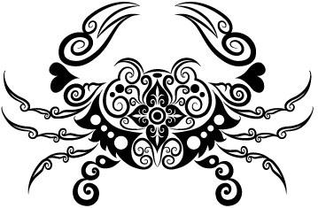 vivid hand drawn crab decoration pattern vector