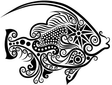 vivid hand drawn fish decoration pattern vector