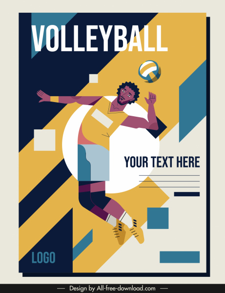 volley ball poster athlete sketch colorful classic design
