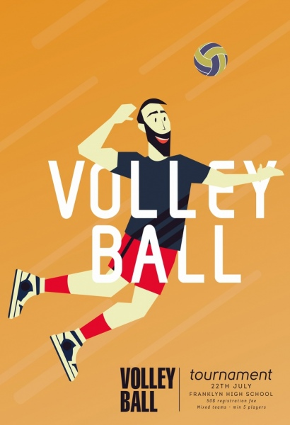 volleyball tournament banner player icon colored cartoon design