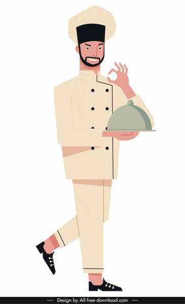waiter job icon cartoon character sketch