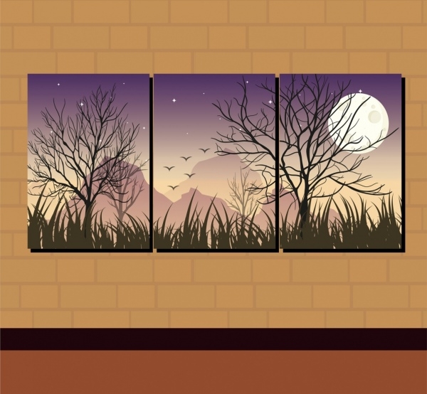 wall decor combined paintings moon night theme