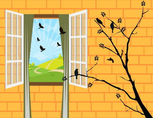 wall decor template 3d window tree birds icons