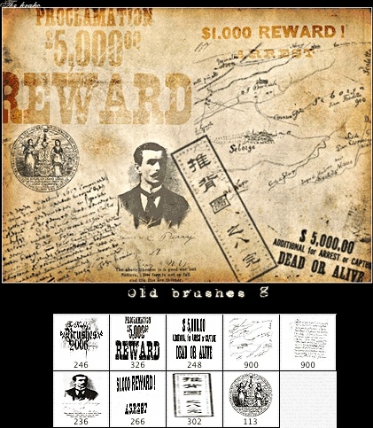 Wanted Poster Photoshop Brushes 28661KB