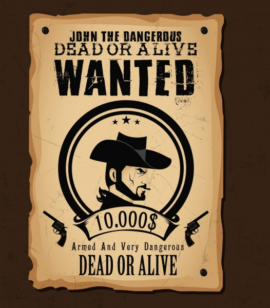 Wanted Template Cowboy Icon Retro Paper