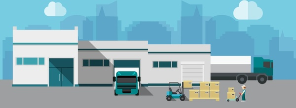 warehouse building vector illustration with delivery activity
