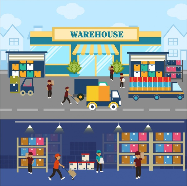 Warehouse concepts illustration with elements in flat for Warehouse planning software free