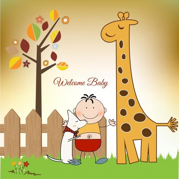 Baby Shower Banner Cute Boy Giraffe Dog Sketch Free Vector In Encapsulated Postscript Eps Eps Vector Illustration Graphic Art Design Format Adobe Illustrator Ai Ai Vector Illustration Graphic