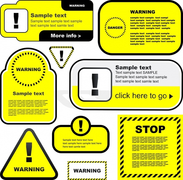 warning signs templates classical flat shapes