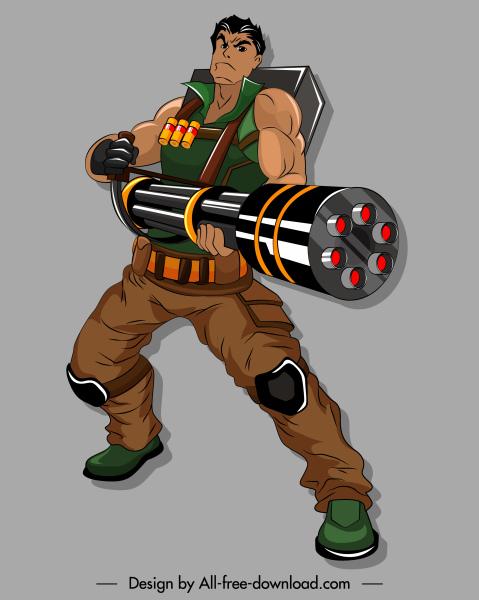warrior icon big gun armed 3d cartoon character