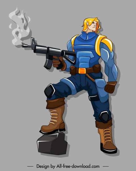 warrior icon modern 3d design cartoon character