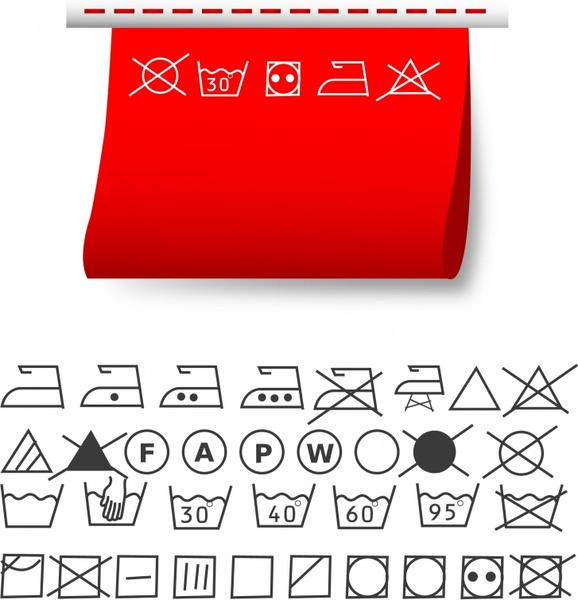 Washing Symbols Free Vector In Adobe Illustrator Ai