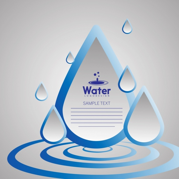 water background 3d rounded blue icons