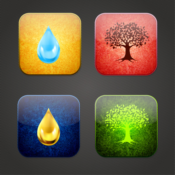 water drop and tree icons in flat design