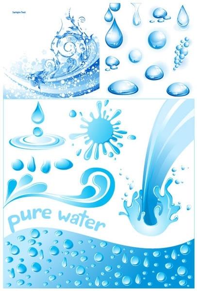 water design elements blue droplets splash pour icons