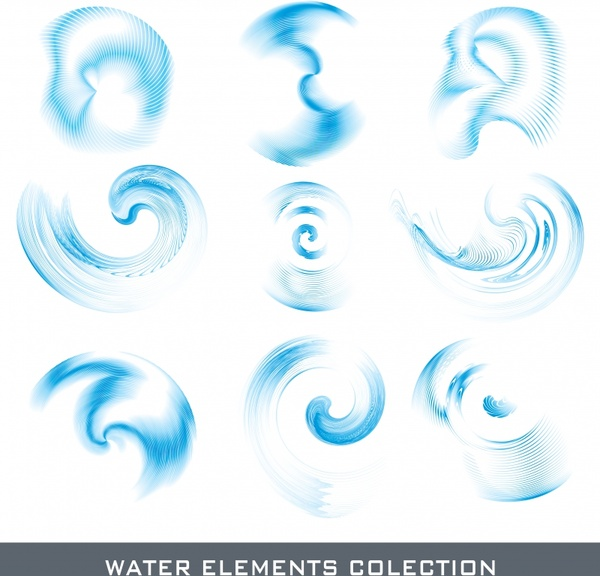 water shapes icons collection modern bright blue design