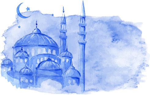 watercolor drawing ramadan kareem vector background