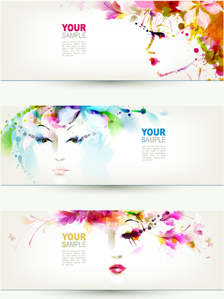 watercolor floral girls banner vector