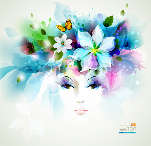 watercolor floral girls vector background