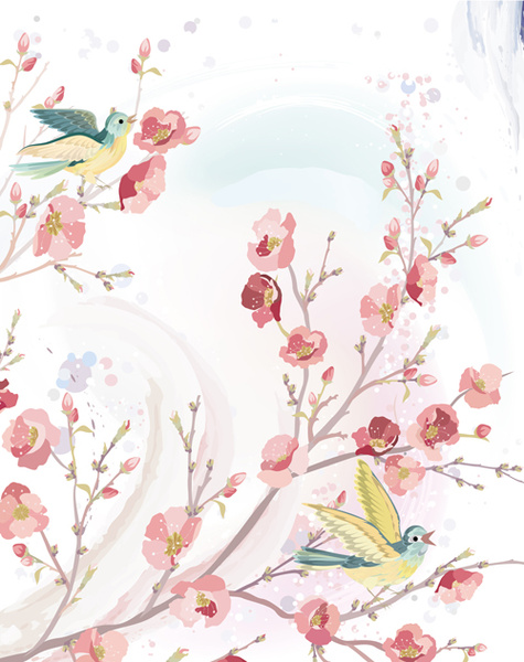 watercolor flowers and birds vector free vector in adobe illustrator