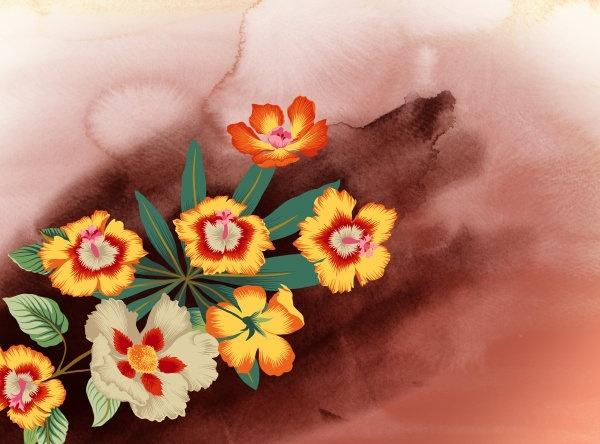 watercolor flowers series psd