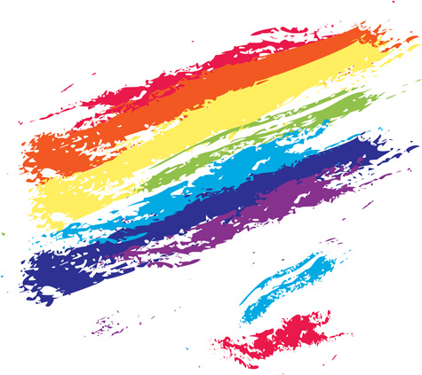watercolor oil painting rainbow background vector