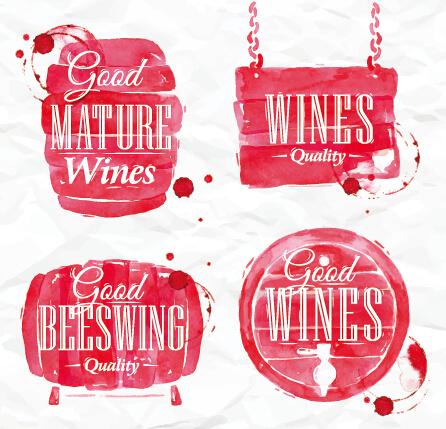 watercolor wine labels vector