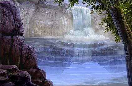 waterfall scenery psd