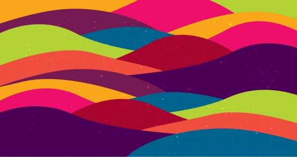 waving background template colorful curves design free vector in